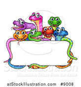 Vector Illustration of a Cartoon Group of Colorful Happy Snakes Around a Blank Sign by AtStockIllustration
