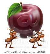 Vector Illustration of a Cartoon Happy Ants Carrying a Big Red Apple by AtStockIllustration