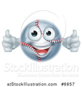 Vector Illustration of a Cartoon Happy Baseball Character Giving Two Thumbs up by AtStockIllustration