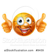 Vector Illustration of a Cartoon Happy Basketball Character Giving Two Thumbs up by AtStockIllustration