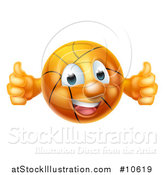 Vector Illustration of a Cartoon Happy Basketball Character Holding Two Thumbs up by AtStockIllustration