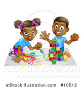 Vector Illustration of a Cartoon Happy Black Boy and Girl Kneeling and Painting and Playing with Blocks by AtStockIllustration