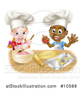 Vector Illustration of a Cartoon Happy Black Boy and White Girl Baking Star Shaped Cookies by AtStockIllustration
