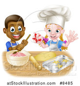 Vector Illustration of a Cartoon Happy Black Boy and White Girl Making Frosting and Star Shaped Cookies by AtStockIllustration