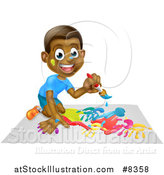 Vector Illustration of a Cartoon Happy Black Boy Kneeling and Painting Artwork by AtStockIllustration
