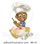 Vector Illustration of a Cartoon Happy Black Boy Making Frosting and Star Cookies by AtStockIllustration