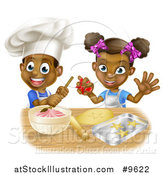 Vector Illustration of a Cartoon Happy Black Girl and Boy Making Frosting and Making Star Cookies by AtStockIllustration