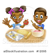Vector Illustration of a Cartoon Happy Black Girl and Boy Making Frosting and Star Cookies by AtStockIllustration