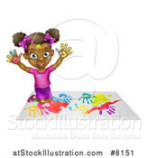 Vector Illustration of a Cartoon Happy Black Girl Making Hand Prints with Paint, Kneeling and Holding up Her Hands by AtStockIllustration