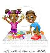 Vector Illustration of a Cartoon Happy Black Girl Painting with Her Hands and Boy Playing with a Toy Car by AtStockIllustration