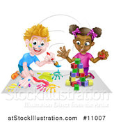 Vector Illustration of a Cartoon Happy Black Girl Playing with Toy Blocks and White Boy Painting by AtStockIllustration