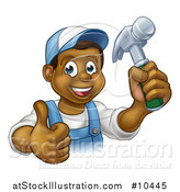 Vector Illustration of a Cartoon Happy Black Male Carpenter Holding a Hammer and Giving a Thumb up by AtStockIllustration