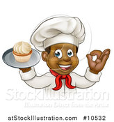 Vector Illustration of a Cartoon Happy Black Male Chef Baker Gesturing Ok and Holding a Cupcake on a Tray by AtStockIllustration