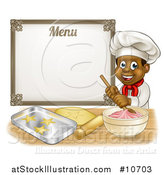 Vector Illustration of a Cartoon Happy Black Male Chef Baker Mixing Frosting and Making Cookies Under a Menu by AtStockIllustration