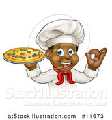 Vector Illustration of a Cartoon Happy Black Male Chef Gesturing Ok and Holding a Pizza by AtStockIllustration
