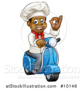 Vector Illustration of a Cartoon Happy Black Male Chef Gesturing Perfect and Riding a Scooter by AtStockIllustration
