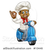 Vector Illustration of a Cartoon Happy Black Male Chef Gesturing Perfect or Ok and Riding a Scooter by AtStockIllustration