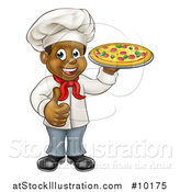 Vector Illustration of a Cartoon Happy Black Male Chef Giving a Thumb up and Holding a Pizza by AtStockIllustration