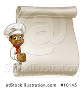 Vector Illustration of a Cartoon Happy Black Male Chef Giving a Thumb up Around a Blank Scroll Menu by AtStockIllustration
