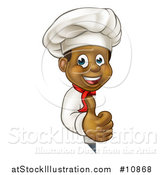 Vector Illustration of a Cartoon Happy Black Male Chef Giving a Thumb up Around a Sign by AtStockIllustration