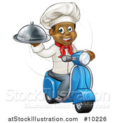 Vector Illustration of a Cartoon Happy Black Male Chef Holding a Cloche Platter and Riding a Scooter by AtStockIllustration