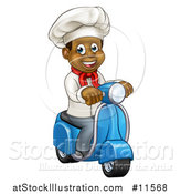 Vector Illustration of a Cartoon Happy Black Male Chef Riding a Scooter by AtStockIllustration