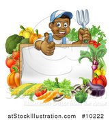 Vector Illustration of a Cartoon Happy Black Male Gardener Holding up a Garden Fork and Giving a Thumb up over a Blank White Sign with Produce by AtStockIllustration