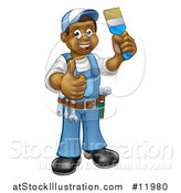 Vector Illustration of a Cartoon Happy Black Male Painter Holding up a Brush and Giving a Thumb up by AtStockIllustration