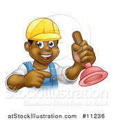Vector Illustration of a Cartoon Happy Black Male Plumber Holding a Plunger and Pointing by AtStockIllustration