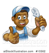 Vector Illustration of a Cartoon Happy Black Male Plumber Holding an Adjustable Wrench and Giving a Thumb up by AtStockIllustration