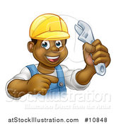 Vector Illustration of a Cartoon Happy Black Male Plumber Holding an Adjustable Wrench and Pointing by AtStockIllustration