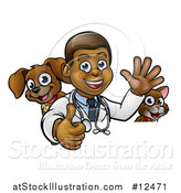 Vector Illustration of a Cartoon Happy Black Male Veterinarian Giving a Thumb up with a Dog and Cat over a Sign by AtStockIllustration