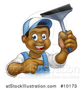 Vector Illustration of a Cartoon Happy Black Male Window Cleaner in Blue, Pointing and Holding a Squeegee by AtStockIllustration