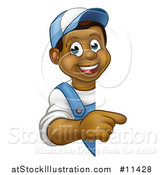 Vector Illustration of a Cartoon Happy Black Male Worker Pointing Around a Sign by AtStockIllustration