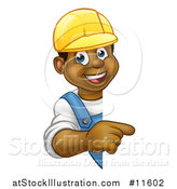 Vector Illustration of a Cartoon Happy Black Male Worker Wearing a Hardhat and Pointing Around a Sign by AtStockIllustration