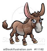 Vector Illustration of a Cartoon Happy Brown Donkey by AtStockIllustration