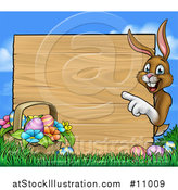 Vector Illustration of a Cartoon Happy Brown Easter Bunny Rabbit Pointing Around a Wood Sign, with a Basket and Eggs in Grass by AtStockIllustration