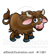Vector Illustration of a Cartoon Happy Brown Yak by AtStockIllustration