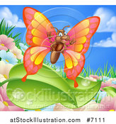Vector Illustration of a Cartoon Happy Butterfly over Summer Flowers, Leaves and Sky by AtStockIllustration
