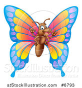 Vector Illustration of a Cartoon Happy Butterfly Waving by AtStockIllustration