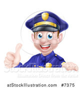 Vector Illustration of a Cartoon Happy Caucasian Male Police Officer Giving a Thumb up over a Sign by AtStockIllustration