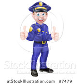 Vector Illustration of a Cartoon Happy Caucasian Male Police Officer Giving Two Thumbs up by AtStockIllustration