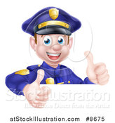 Vector Illustration of a Cartoon Happy Caucasian Male Police Officer Giving Twp Thumbs up over a Sign by AtStockIllustration