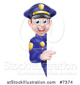 Vector Illustration of a Cartoon Happy Caucasian Male Police Officer Pointing Around a Sign by AtStockIllustration