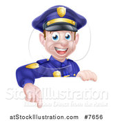 Vector Illustration of a Cartoon Happy Caucasian Male Police Officer Pointing down over a Sign by AtStockIllustration