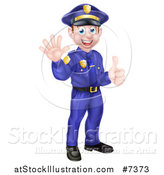 Vector Illustration of a Cartoon Happy Caucasian Male Police Officer Waving and Giving a Thumb up by AtStockIllustration
