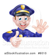 Vector Illustration of a Cartoon Happy Caucasian Male Police Officer Waving and Giving a Thumb up over a Sign by AtStockIllustration