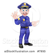 Vector Illustration of a Cartoon Happy Caucasian Male Police Officer Waving and Pointing by AtStockIllustration