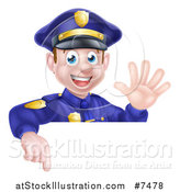 Vector Illustration of a Cartoon Happy Caucasian Male Police Officer Waving and Pointing down over a Sign by AtStockIllustration
