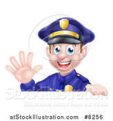 Vector Illustration of a Cartoon Happy Caucasian Male Police Officer Waving over a Sign by AtStockIllustration